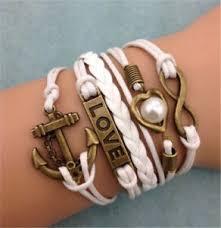 leather charm bracelet ebay images Infinity anchor heart love ancient bronze leather charm bracelet jpg
