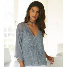grey silk blouse mayamia silk and sequin blouse light grey by joe aspiga