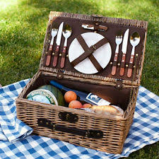 picnic basket set for 2 sherwood wicker 2 set plates cutlery ebay