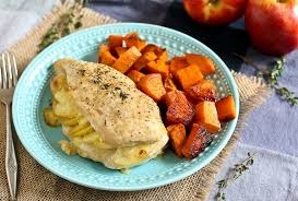 apple gouda stuffed chicken with smoky roasted sweet