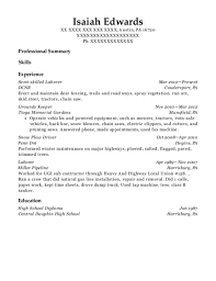 exle of a professional resume for a dcnr semi skilled laborer resume sle pennsylvania
