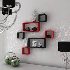 red and black wall shelves