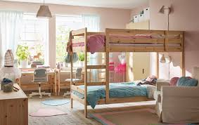 Mydal Bunk Bed Frame Pine Bunk Bed In Shared Children S Bedroom With Pink Walls For