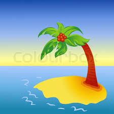 bright palm tree on island stock vector colourbox