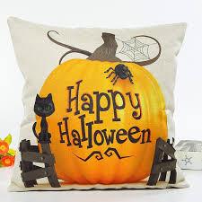 pumpkin cat happy halloween letter cushion pillow case beige in
