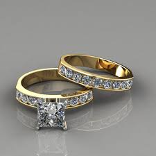 what are bridal set rings princess cut engagement ring and wedding band set puregemsjewels