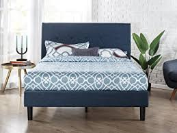 Platform Bed Wood Zinus Upholstered Navy Button Detailed Platform Bed