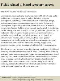Secretary Resume Top 8 Board Secretary Resume Samples