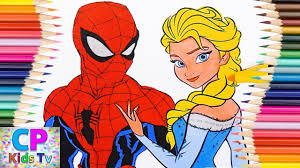 spiderman and elsa coloring pages for kids 72 spiderman coloring
