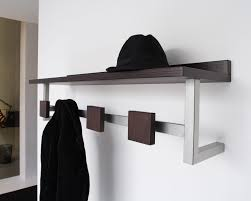 modern metal wooden wall mounted entryway coat rack with hat shelf