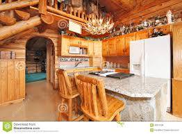 kitchen room in log cabin house royalty free stock image image