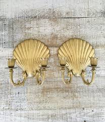 Wall Candle Holders Sconces Wall Sconces Pair Of Brass Shell Wall Candle Sconces Hollywood
