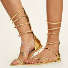 shoespie golden strappy wrap up gladiator sandals shoespie com