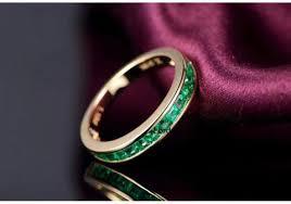 natural gem rings images 599 princess natural emerald wedding band half eternity jpeg