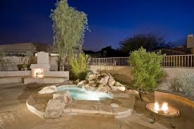 Fire Pit Pizza - rustic tub with outdoor pizza oven u0026 raised beds in scottsdale