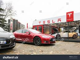 tesla outside paris france november 29 tesla model stock photo 373985659