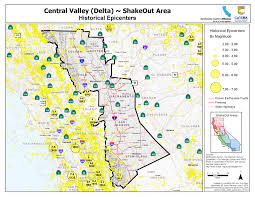 United States Earthquake Map by The Great California Shakeout Delta Sierra Area