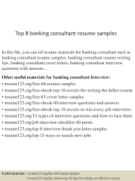 Resume Samples Banking by Top8bankingconsultantresumesamples 150513101831 Lva1 App6891 Thumbnail 4 Jpg Cb U003d1431512358