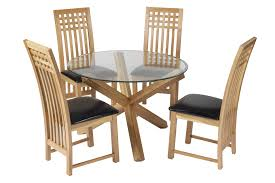Glass Dining Table And 4 Chairs by Round Oak And Glass Dining Table 13352