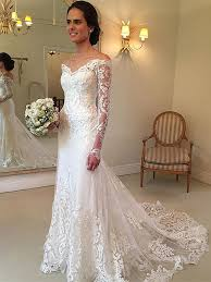robe de mariã e avec dentelle forme trompette robe de mariée avec manche longue en dentelle