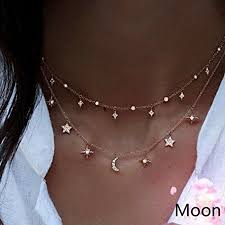 double chain necklace choker images Canviuk women 39 s pendant necklace classic moon stars charming jpg