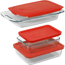 pyrex 3 cup rectangle glass storage set with dark blue plastic