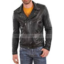 biker jacket men asymmetrical black leather biker jacket