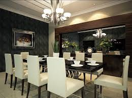 captivating dining room design with brick wall and long wood
