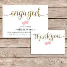 Invitation Engagement Card Printable Engagement Party Invitation And Thank You Card Set