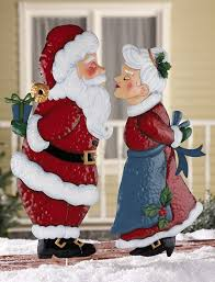 santa or mrs claus outdoor metal garden stake