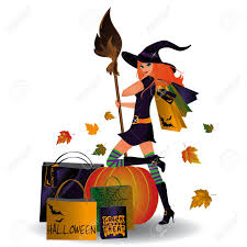 Halloween Sale Halloween Sale Witch And Shopping Vector Royalty Free