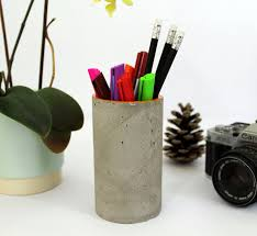 Pencil Holder For Desk Concrete Desk Organiser Concrete Pen Holder Concrete Pot