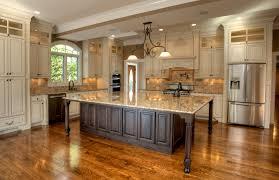 oak wood chestnut glass panel door galley kitchen with island
