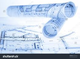 rolls architecture blueprints house plans stock photo 97855169