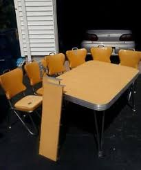 retro yellow kitchen table 1950s yellow formica table chrome atomic w 6 vinyl chairs retro