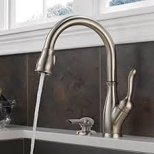 single handle pulldown kitchen faucet shop delta leland arctic stainless 1 handle deck mount pull