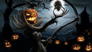 evil pumpkins in the scary night of halloween