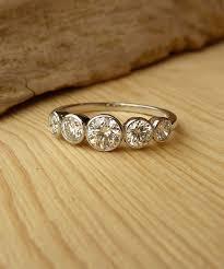 set diamond 5 bezel set diamond band