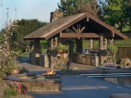 Stacked Stone Outdoor Fireplace - outdoor living modern outdoor living space in classic style with
