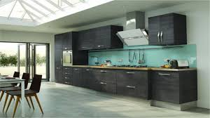 blue glass backsplash idea feat modern one wall kitchen collection