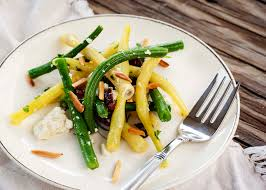 green bean salad with goat cheese and almonds just a little bit