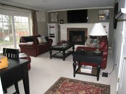 Maroon Living Room Furniture - living room engaging red and grey family room design on a budget