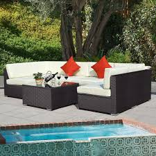 metal patio furniture set outdoor 7pc furniture sectional pe wicker patio rattan sofa set
