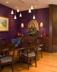 Purple Walls Pendant Lights Rich Brown Wood Table And Cabinet - Purple dining room