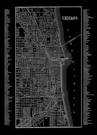 Chicago Map Poster by Chicago Neighborhood Map Black Print Poster