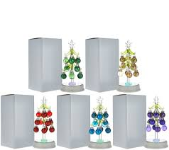kringle express set of 5 glass trees with ornaments in gift boxes