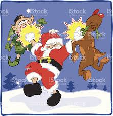 evil santa beats up elf and reindeer stock vector art 164313885