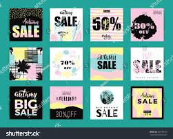 set artistic creative autumn sale cards stock vector 486189136