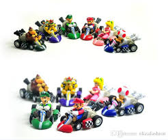 super mario bros karts pull cars pvc action figure collection