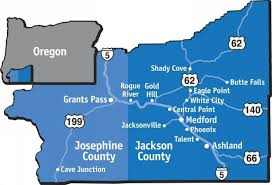 map of jackson and josephine county communities from southern